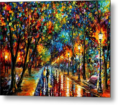 When Dreams Come True - Palette Knlfe Landscape Park Oil Painting On Canvas By Leonid Afremov Metal Print by Leonid Afremov