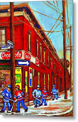 When We Were Young - Hockey Game At Piche's - Montreal Memories Of Goosevillage Metal Print by Carole Spandau