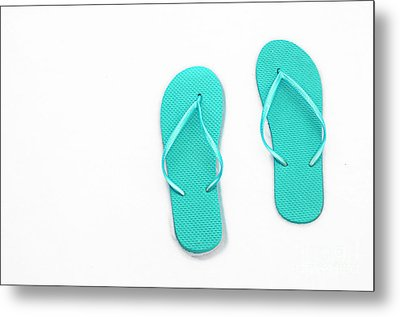 Where On Earth Is Spring - My Aqua Flip Flops Are Waiting Metal Print by Andee Design