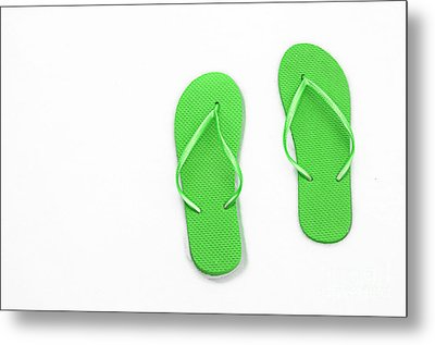 Where On Earth Is Spring - My Green Flip Flops Are Waiting Metal Print by Andee Design