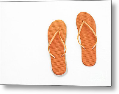 Where On Earth Is Spring - My Orange Flip Flops Are Waiting Metal Print by Andee Design