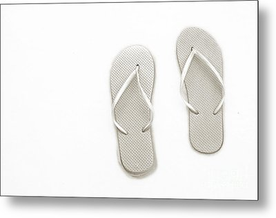 Where On Earth Is Spring - My Silver Flip Flops Are Waiting Metal Print by Andee Design