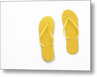 Where On Earth Is Spring - My Yellow Flip Flops Are Waiting Metal Print by Andee Design