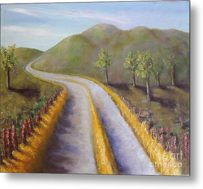 Autumn Road Metal Print by Laurie Morgan
