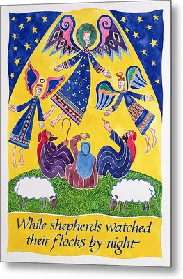 While Shepherds Watched Their Flocks By Night Metal Print by Cathy Baxter