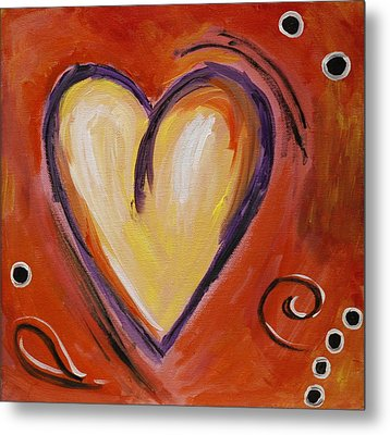 Whimsical  Abstract Art - With All My Heart Metal Print by Karyn Robinson