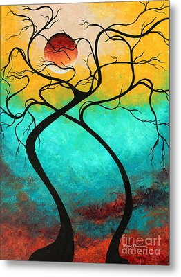 Whimsical Abstract Tree Landscape With Moon Twisting Love IIi By Megan Duncanson Metal Print by Megan Duncanson