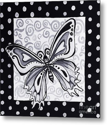 Whimsical Black And White Butterfly Original Painting Decorative Contemporary Art By Madart Studios Metal Print by Megan Duncanson