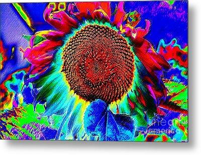 Whimsical Colorful Sunflower Metal Print