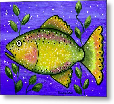 Metal Print featuring the painting Whimsical Folk Art Fish by Sandra Estes