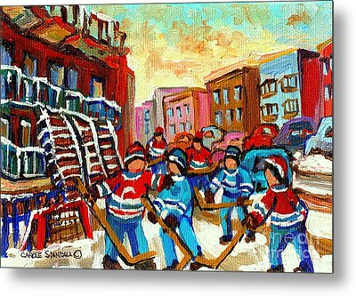 Whimsical Hockey Art Snow Day In Montreal Winter Urban Landscape City Scene Painting Carole Spandau Metal Print by Carole Spandau