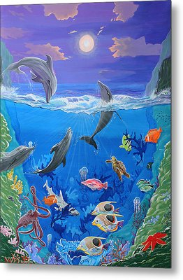 Whimsical Original Painting Undersea World Tropical Sea Life Art By Madart Metal Print by Megan Duncanson