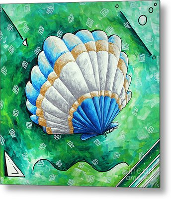 Whimsical Sea Scallop Shell Original Painting By Megan Duncanson Metal Print