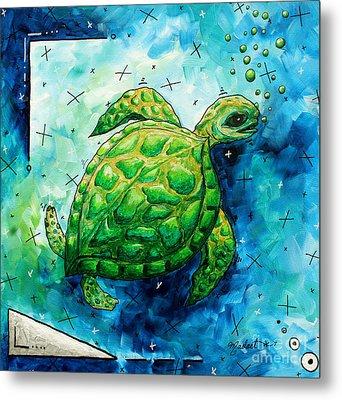 Whimsical Sea Turtle Original Painting By Megan Duncanson Metal Print