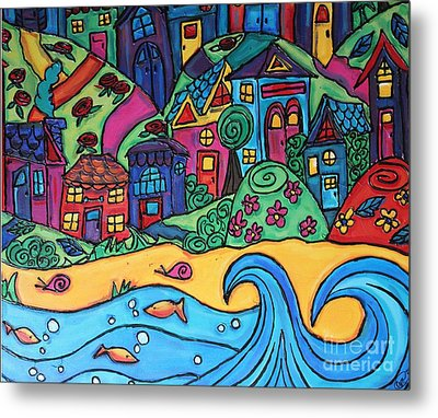 Whimsical Town Sectional  Metal Print