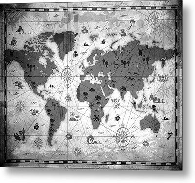 Whimsical World Map Bw Metal Print by Angelina Vick