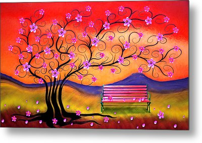 Whimsy Cherry Blossom Tree-1 Metal Print by Nina Bradica