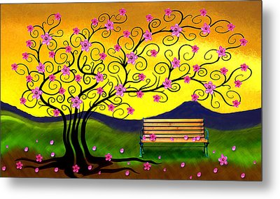 Whimsy Cherry Blossom Tree-2 Metal Print by Nina Bradica