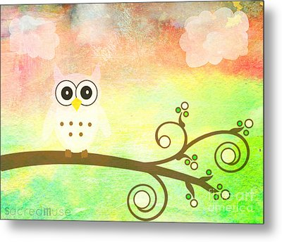 Whimsy Owl Kids Art Metal Print by Sacred  Muse