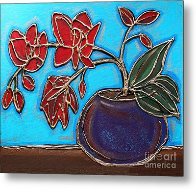 Whimsy Red Orchid Metal Print by Cynthia Snyder