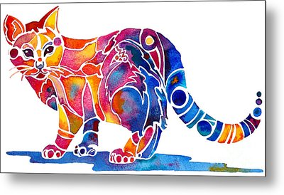 Whimzical Calico Kitty Metal Print by Jo Lynch