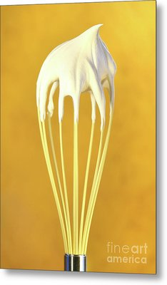 Whisk With Whip Cream On Top Metal Print by Sandra Cunningham