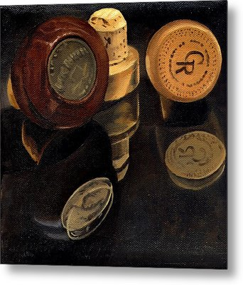 Whiskey Corks Metal Print