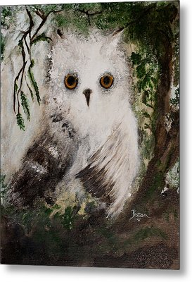 Metal Print featuring the painting Whisper The Snowy Owl by Barbie Batson