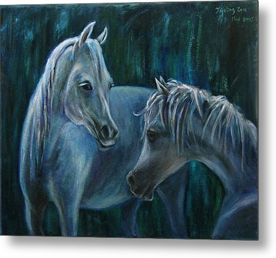Metal Print featuring the painting Whispering... by Xueling Zou
