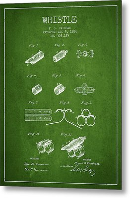 Whistle Patent From 1884 - Green Metal Print