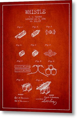 Whistle Patent From 1884 - Red Metal Print
