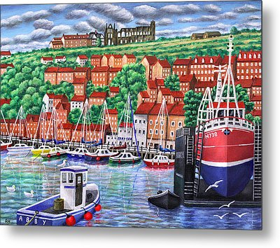 Whitby Harbour Metal Print by Ronald Haber