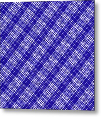 White And Blue Plaid Fabric Background Metal Print