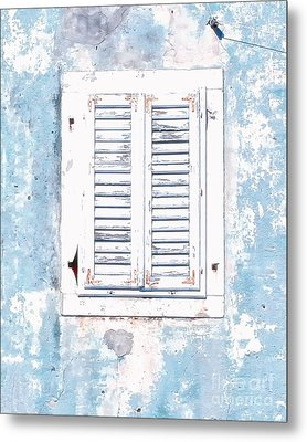 White And Blue Window Metal Print