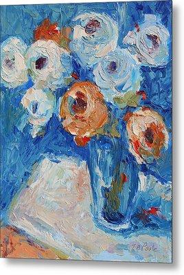 White And Orange Roses In Sea Of Blue Oil Painting Bertram Poole Metal Print by Thomas Bertram POOLE