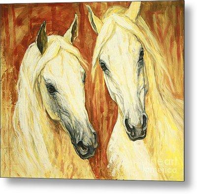 White Arabian Horses Metal Print by Silvana Gabudean Dobre