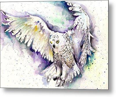 White Arctic Polar Owl - Wizard Dynamic White Owl Metal Print by Tiberiu Soos