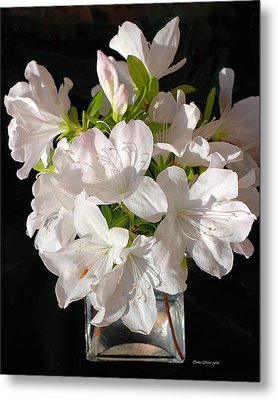 White Azalea Bouquet In Glass Vase Metal Print by Connie Fox