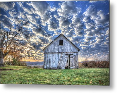 Metal Print featuring the photograph White Barn At Sunrise by Jaki Miller