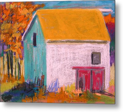 Metal Print featuring the painting White Barn by John Williams