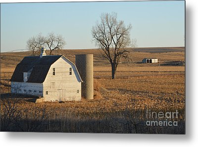 White Barn With Silo Metal Print
