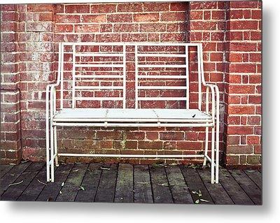White Bench Metal Print