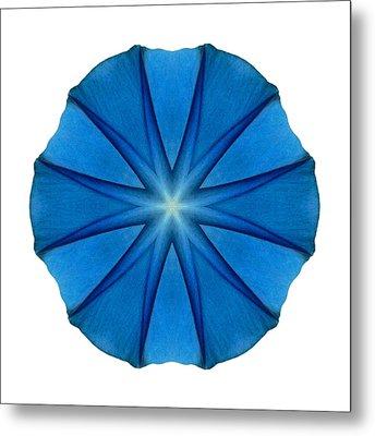 Blue Morning Glory II Flower Mandala White Metal Print