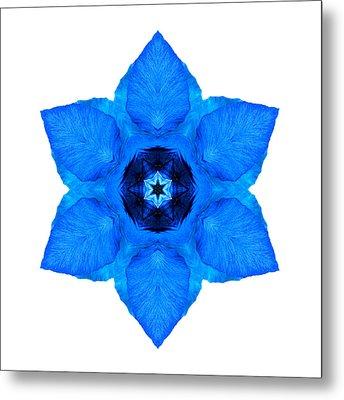 Blue Pansy II Flower Mandala White Metal Print