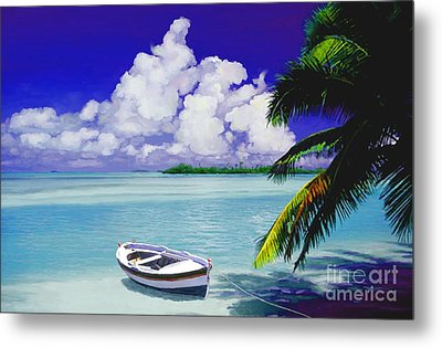 Metal Print featuring the painting White Boat On A Tropical Island by David  Van Hulst