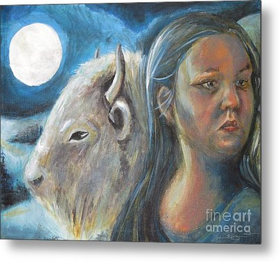 White Buffalo Portrait Metal Print