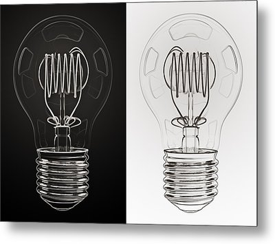 White Bulb Black Bulb Metal Print