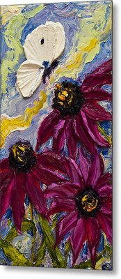 White Butterfly And Purple Flowers Metal Print by Paris Wyatt Llanso