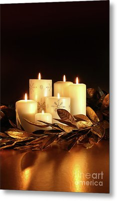 White Candles With Gold Leaf Garland  Metal Print by Sandra Cunningham