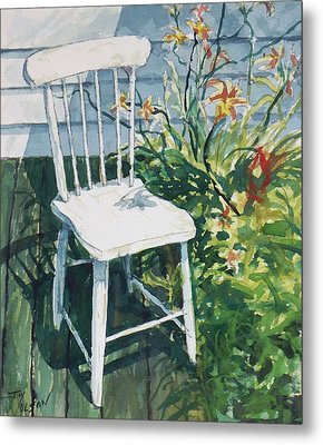 Metal Print featuring the painting White Chair And Day Lilies by Joy Nichols